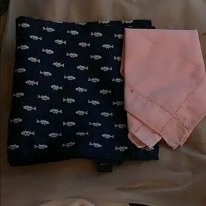 Lot of 2 handkerchiefs. 1 navy silk, 1 pink cotton